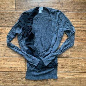 Grey Black Ruffle Pullover Deep V Neck Sweater